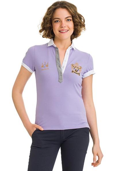 Galvanni Kadın Mor Polo Yaka T-Shirt - Beatas
