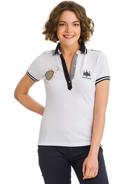 Galvanni Kadın Beyaz Polo Yaka T-Shirt - Cocos