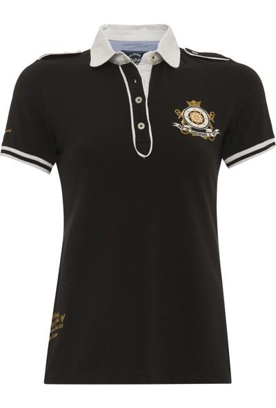 Galvanni Kadın Siyah Polo Yaka T-Shirt - Dianisias