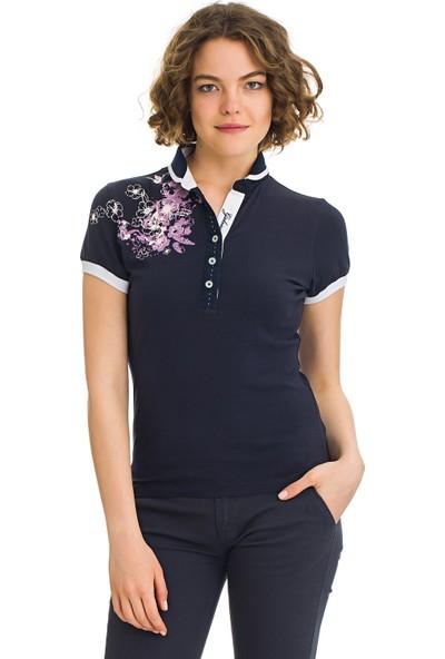 Galvanni Kadın Lacivert Polo Yaka T-Shirt - Estellas