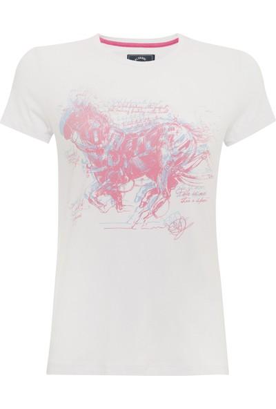 Galvanni Kadın Beyaz T-Shirt - Lavardos