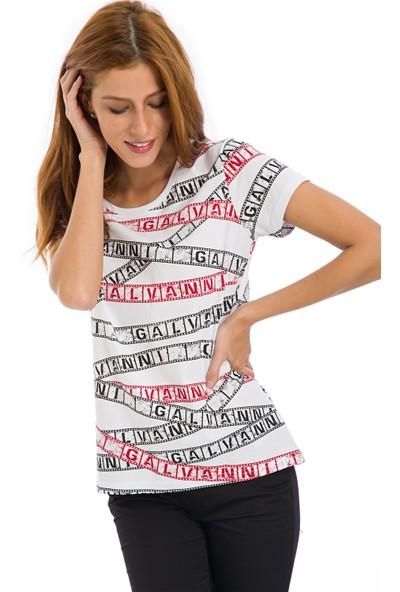 Galvanni Kadın Beyaz T-Shirt - Mid