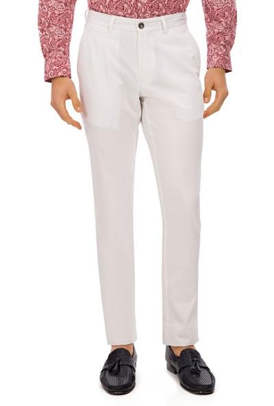 Galvanni Erkek Slim Fit Beyaz Pantolon - Ringe