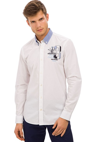 Galvanni Erkek Slim Fit Beyaz Gömlek - Tarbeak
