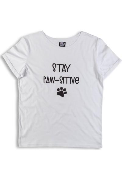 Pati Anneleri Stay Pawsitive Kadın T-Shirt
