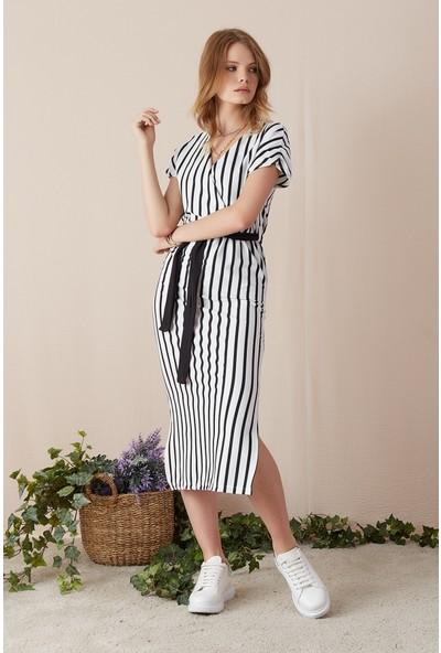 Freestar Çizgili Kuşaklı Kruvaze Elbise-Beyaz