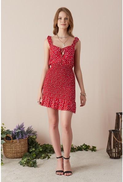 Freestar Desenli Askılı Elbise-Kırmızı