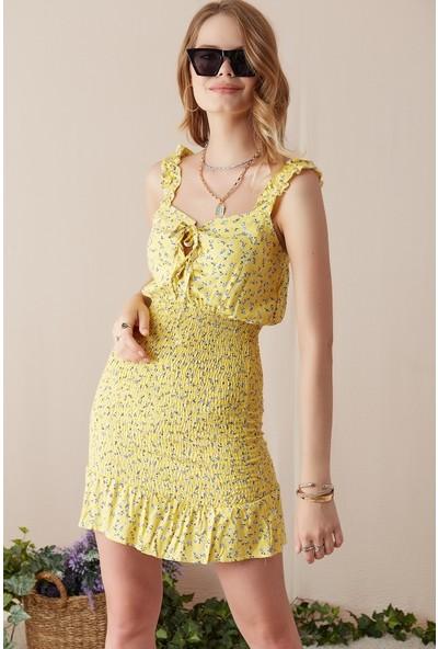Freestar Desenli Askılı Elbise-Sarı