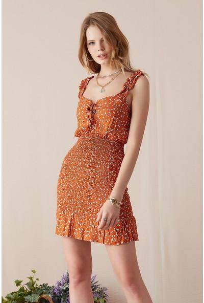 Freestar Desenli Askılı Elbise-Taba