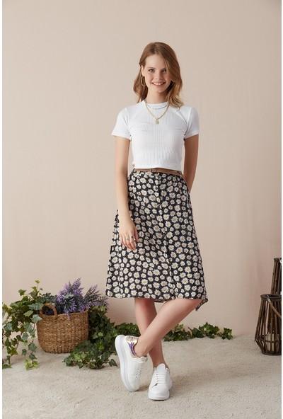 Freestar Düğmeli Çiçek Desen Kemerli Etek-Siyah-Beyaz