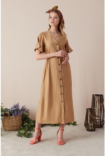 Freestar Düğmeli Uzun Elbise-Camel