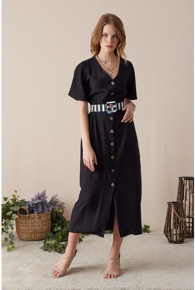 Freestar Düğmeli Uzun Elbise-Siyah