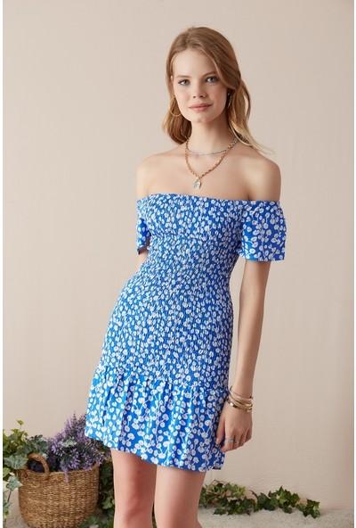Freestar Geniş Yaka Desenli Elbise-Mavi