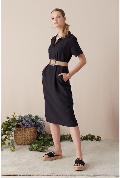 Freestar Hasır Kemerli Cepli Uzun Elbise-Siyah