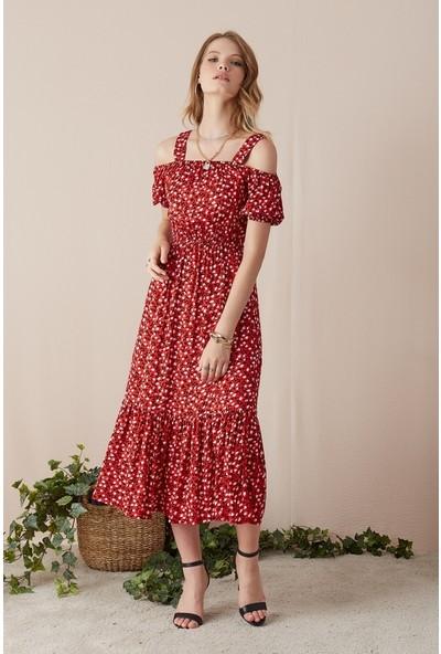 Freestar Omuzu Açık Kısa Kol Desenli Elbise-Kırmızı