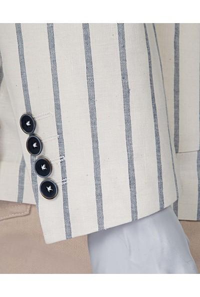 Damat/Tween Süper Slim Fit Ekru Kumaş Ceket