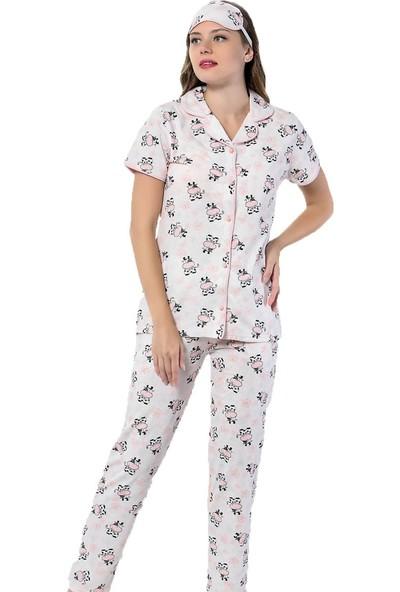 InstaPijama Cow Desenli Önden Düğmeli Kısa Kollu Pijama Takımı