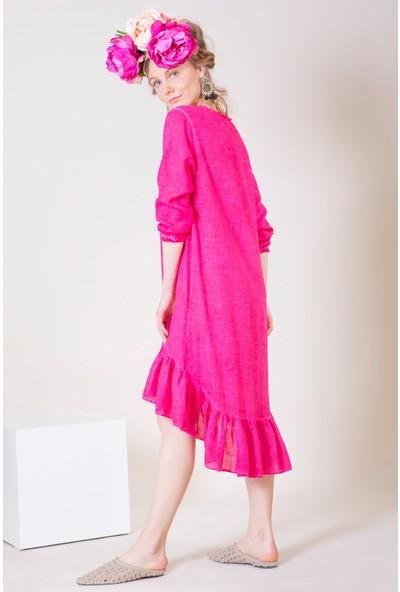 İkikız Kadın Fuşya Fırfırlı Elbise