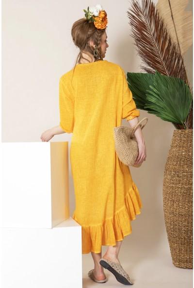 İkikız Kadın Hardal Fırfırlı Elbise