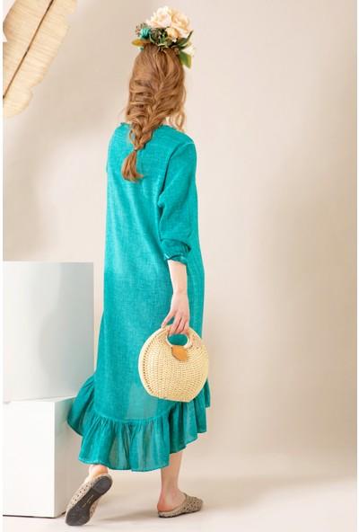 İkikız Kadın Petrol Yeşili Fırfırlı Elbise