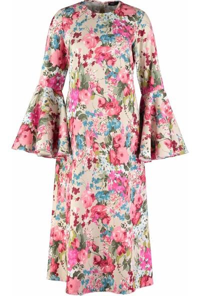Mizalle Kolları Volanlı Çiçekli Kadın Elbise