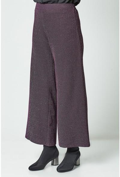 Nihan Örme Bol Paça Pantolon-Mürdüm U4110