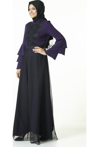 Nihan Tüllü Kolları Volanlı Elbise-Mor J2910