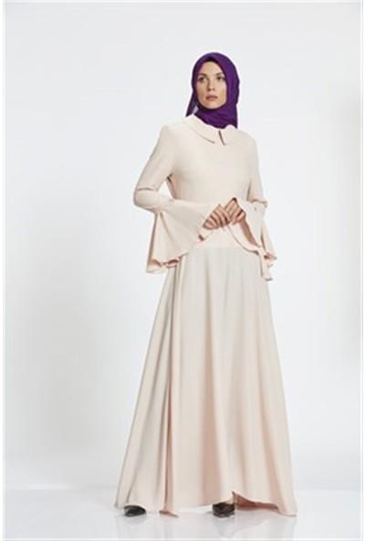 Nihan Bebek Yaka Elbise - Pudra Z1179