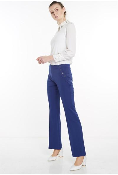 Nihan Düğme Detaylı Boru Paça Pantolon-Saks X3238