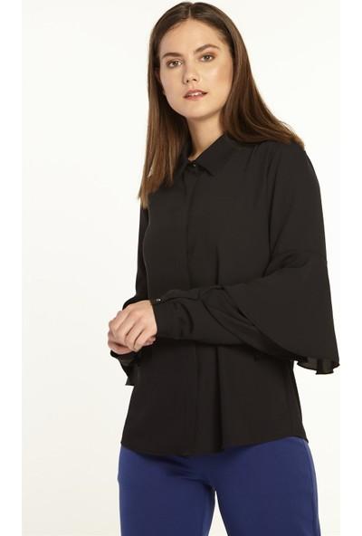 Nihan Kolları Volanlı Gömlek-Siyah X1150