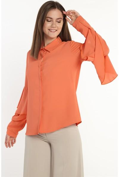 Nihan Kolları Volanlı Gömlek-Oranj X1150