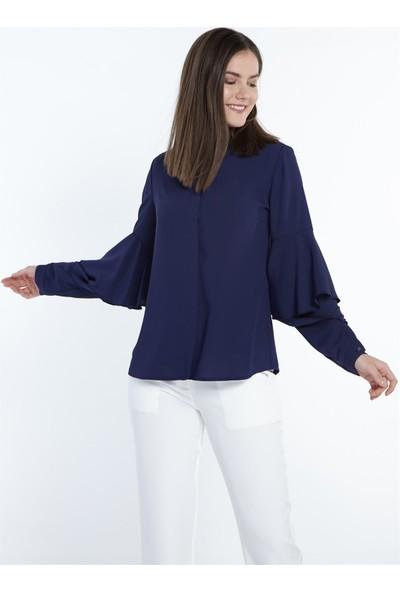 Nihan Kolları Volanlı Gömlek-Lacivert X1150