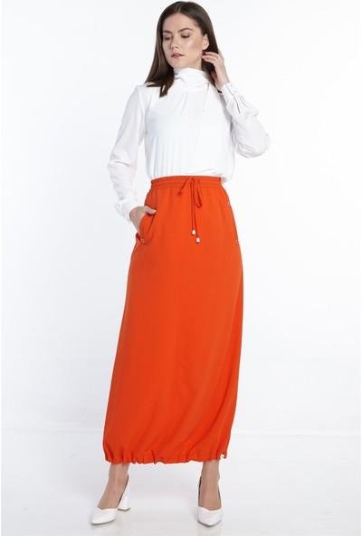 Nihan Beli Lastikli Etek-Oranj X5235