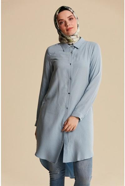 Nihan Tencel Basic Tunik-Açık Mavi X3119