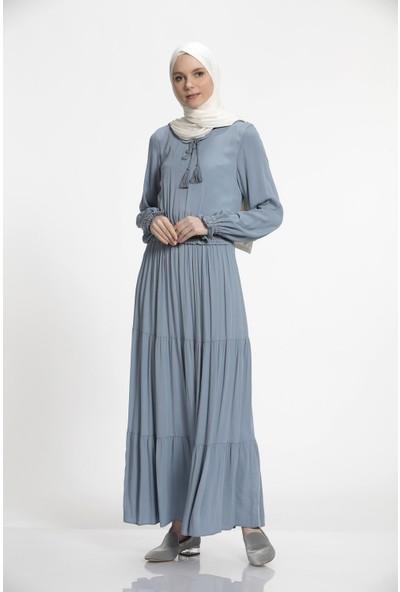 Nihan Beli Lastikli Püskül Viskon Elbise-Açık Mavi J3086