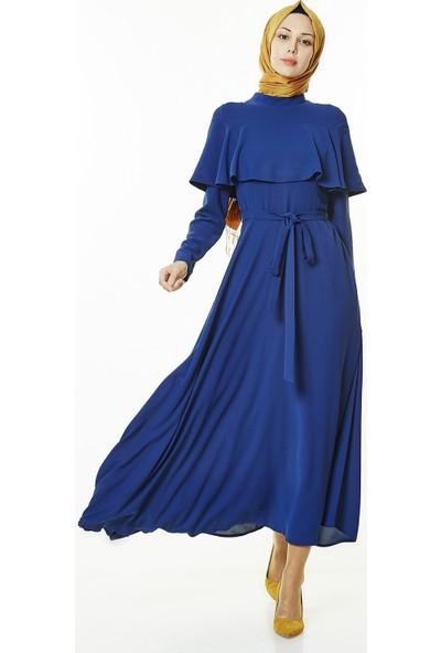 Nihan Kuşaklı Elbise-İndigo J4508