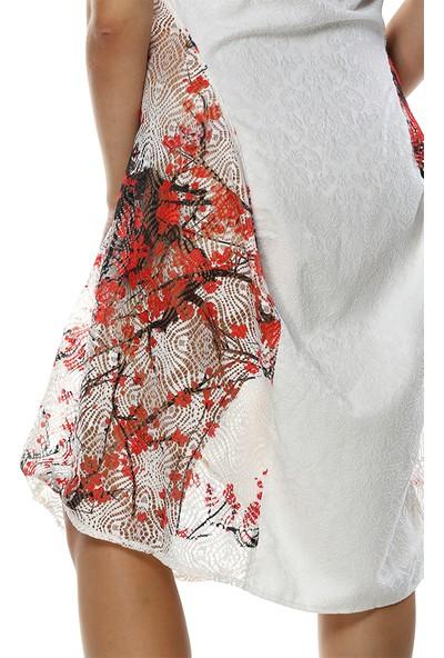 Tantrona Kayık Yaka Dantel Detaylı Elbise