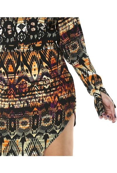 Tantrona Etnik Desenleri Dikkat Çeken Kolları Yırtmaçlı Elbise