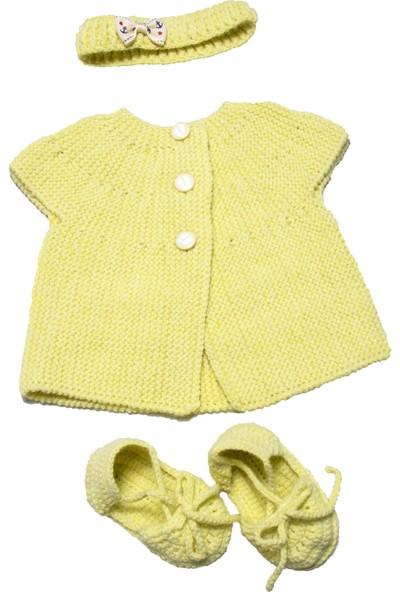HL Organik Bebek Yelek ve Saç Bandı Patik Takımı