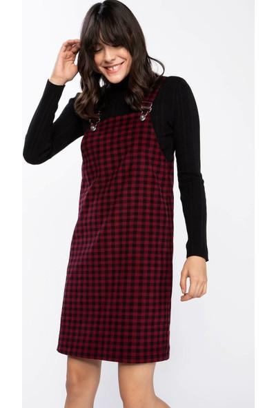 Defacto Kadın Askılı Kadife Elbise