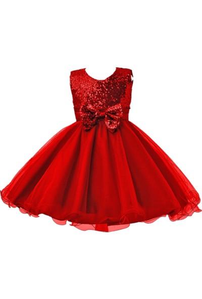 Butikhappykids Kız Çocuk Kırmızı Payetli Abiye Elbise