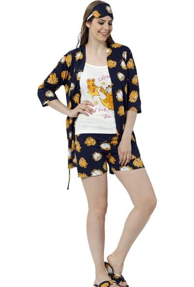 Instapijama Garfield Love Desenli Şortlu Sabahlıklı Kadın Pijama Takımı