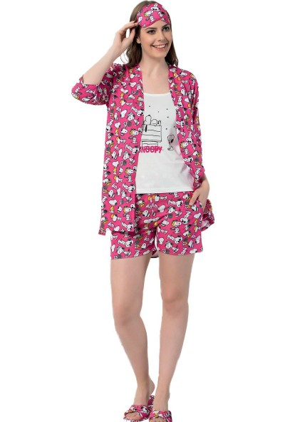 Instapijama Fuşya Snoopy Desenli Şortlu Sabahlıklı Kadın Pijama Takımı