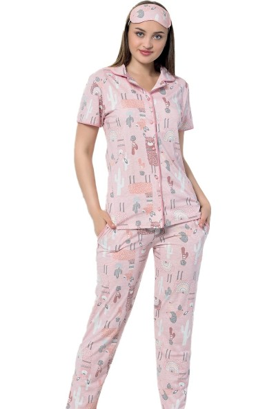 Instapijama Lama Desenli Kadın Pijama Takımı