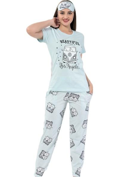 Instapijama Mavi Vosvos Desenli Kısa Kollu Kadın Pijama Takımı