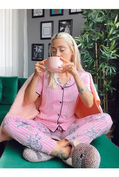 Instapijama Pembe Çiçek Kuş Desenli Kadın Pijama Takımı