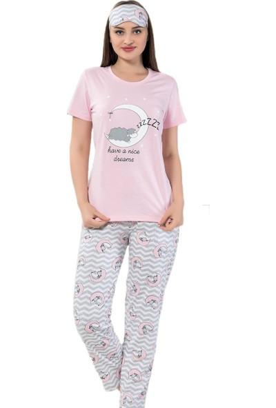 Instapijama Pembe Kuzu Ay Desenli Kısa Kollu Kadın Pijama Takımı