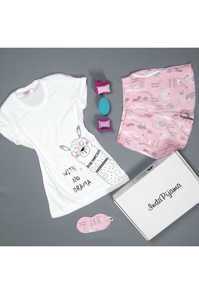 Instapijama Lama Desenli Şortlu Kadın Pijama Takımı