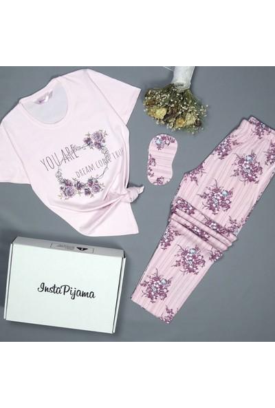 Instapijama Çiçek Desenli Kısa Kollu Kadın Pijama Takımı