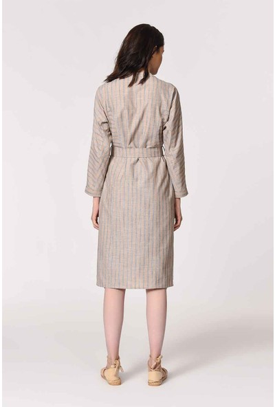 Mizalle Hakim Yaka Keten Tunik Kadın Elbise